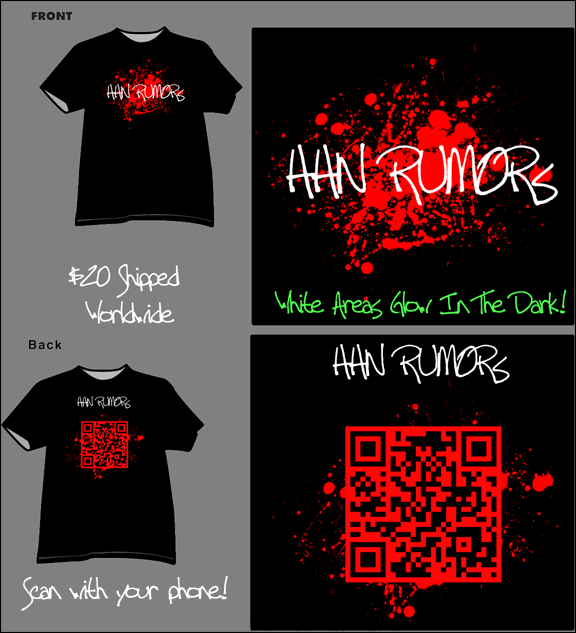 HHNRumors 2011 T-Shirt. $20 Shipped Worldwide! Scan with your phone. White Areas Glow in the Dark!